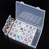 28 Grids Plastic Storage Box Organizer Display Case Container for Jewelry Beads Nail Art Rhinestone Diamonds Earrings Necklace Cosmetic Tablets