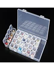 28 Grids Plastic Storage Box Organizer Display Case Container for 5D Diamond Art Projects Jewelry Beads Nail Art Rhinestone Diamonds Earrings Necklace Cosmetic Tablets