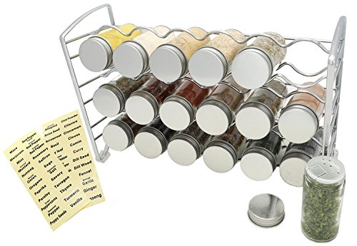 Amtido Spice Rack with 18 Empty Glass Spice Jars Bottles and 48 Spice Labels - Chrome