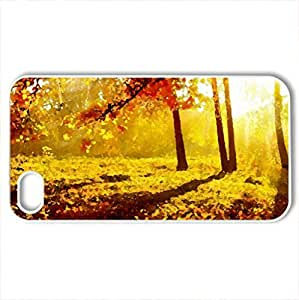 Autumn glow - Case Cover for iPhone 4 and 4s (Forests Series, Watercolor style, White)
