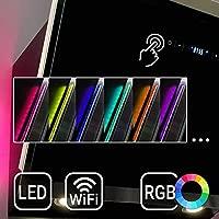 Campana extractora de pared (60cm, acero inoxidable, cristal negro, 605m³/h, iluminación LED RGBW, control WIFI, teclas sensoriales TouchSelect) ...