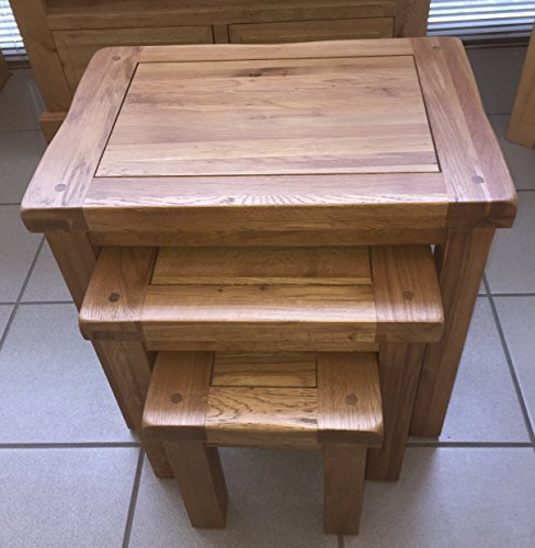 Yabbyou Solid Oak Large Rustic Nest of 3 Tables
