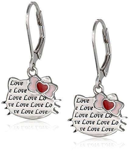 Hello Kitty Sterling Silver Heart Bow Love Engraved Silhouette Leverback Earrings