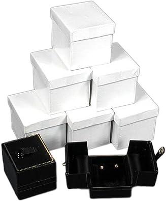 FindingKing 6 Cajas de Regalo de Piel Negra para Pendientes, Caja con Tapa: Amazon.es: Joyería