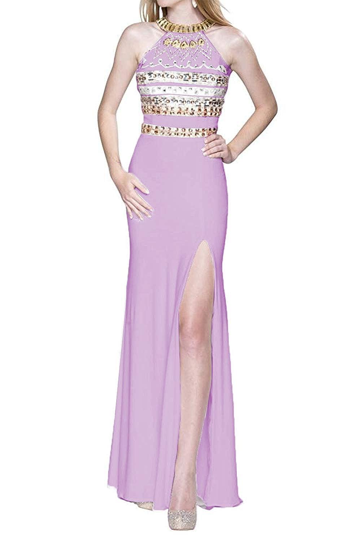 Lavender Promworld Women's Halter Off The Shoulder Evening Dress Crystal Beaded Split Prom Dress Long White