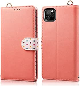 for iPhone 11 6.1 inch Case Wallet, Matched Color PU Leather Wallet Case with Kickstand/Long Handwrist, Card Holder Phone Case for iPhone 11 6.1 inch 2019` Candys house (Color : Pink)
