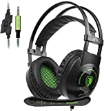 GW Sades SA801 Wired Over Ear Gaming Headset for PS4, PC,New Xbox One S, Noise Isolating Headphones with In-line Mic, Bass Stereo Surround, Soft Breathing Earmuffs for Laptop Mac Smart Phones(Green)