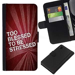 All Phone Most Case / Oferta Especial Cáscara Funda de cuero Monedero Cubierta de proteccion Caso / Wallet Case for Sony Xperia Z1 L39 // BIBLE Too Blessed To Be Stressed