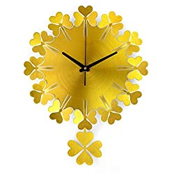 wall clock Clocks and watches pendulum clock Gold green Silver Metallic swing Round Large modern Simple Mute silent Suitable for bedroom & living room & home & kitchen Size 50 38cm ( Color : Gold )