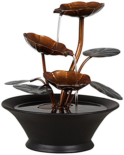 Alvera Metal Flowers and Leaves Indoor Table Fountain