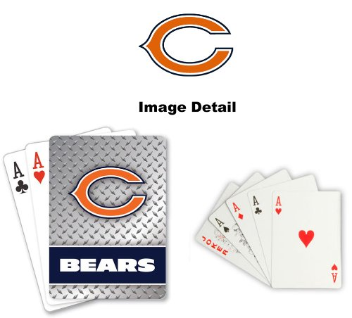 - Playing Cards - NFL - Chicago Bears NFL Team Logo Standard Size Diamond Plate Pattern Poker Blackjack Crazy Eights - 52 Card Deck Plus 2 Jokers
