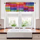 Curtains with Valance Abstract Breathable and