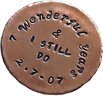 7 Year Anniversary Custom Personalised Copper Golf Ball Marker