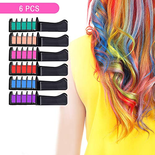 Hair Chalk for Girls, Hair Chalk Set Non Toxic Washable Hair Color Combs For Kids,Hair Dyeing Party and Cosplay DIY,6 Colors