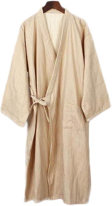 Hombres de Estilo japonés de algodón Fino Albornoz Pijamas Kimono Batas de baño Ropa de dormir-F16: Amazon.es: Ropa y accesorios