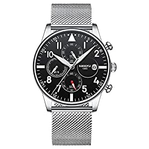 NIBOSI Men's Watch Steel Water Resistant Mens Watches Top Brand Luxury Chronograph Watches Men