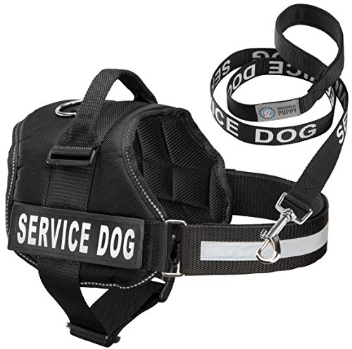 (Industrial Puppy Service Dog Vest with Hook and Loop Straps & Matching Service Dog Leash Set | Harnesses from XXS to XXL | Service Dog Harness Features Reflective Patch and Comfortable Mesh Design)