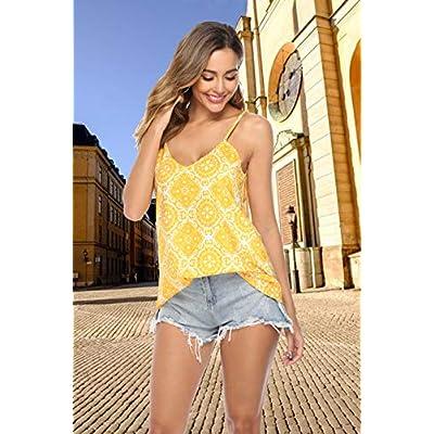 TECREW Women's Boho Floral V Neck Spaghetti Straps Tank Top Summer Sleeveless Shirts Blouse at Women's Clothing store