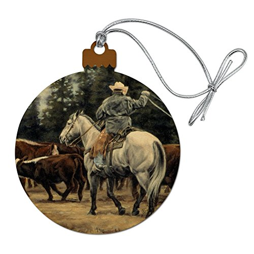 GRAPHICS & MORE Ranch Cowboy Cattle Drive Roundup Wood Christmas Tree Holiday Ornament]()