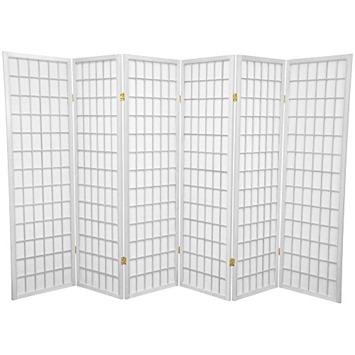 (Oriental Furniture 5 ft. Tall Window Pane Shoji Screen - White - 6 Panels)