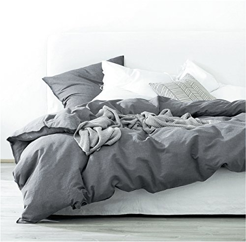 Eikei Washed Cotton Chambray Duvet Cover Solid Color Casual Modern Style Bedding Set Relaxed Soft Feel Natural Wrinkled Look (Queen, Charcoal)