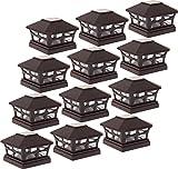 12 Pack Green Lighting Solar Powered Post Cap Light for 5''x5'' PVC Posts (Dark Brown)
