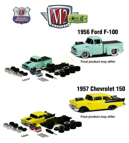 New 1:24 MODEL-KIT RELEASE 2 - 1956 FORD F-100 TRUCK & 1957 Chevrolet 150 Sedan Diecast Model Car By M2 Machines Set of 2 Cars - 1957 Chevrolet Sedan