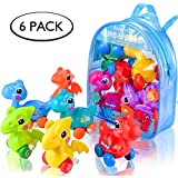 Dinosaur Toys for 3 Year Olds, 6-Pack Wind-up Pull-Back Dinosaur Cars Toys for 2,3,4,5,6 Years Old Boys Girls Toddlers Kids, Dinosaur Birthday Party Supplies Favors, Gift Idea with Dinosaur Backpack