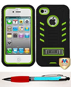 Accessory Factory(TM) Bundle (Phone Case, 2in1 Stylus Point Pen) APPLE iPhone 4S 4 Natural Pearl Green Black TUFF eNUFF Hybrid Phone Protector Cover (with Metal Stand)