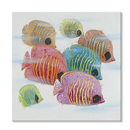 Tropical Fish Paintings - SEVEN WALL ARTS 100% Hand Painted Oil Painting Cute Animal Painting for Living Room Kids Room Decor Ready to Hang 32 x 32 Inch (Coloful Tropical Fish, 24 x 24 Inch)