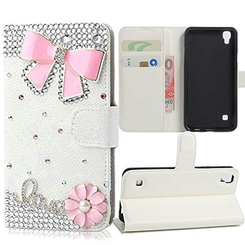 LG Tribute HD Case, LG X Style Case, LG Volt 3 Case, Best Alice New DIY Design Flip PU Leather 3D Handmade Bling Crystal Diamond Wallet Case [Pink Bow…
