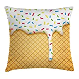 ice cream accent - Ambesonne Food Decor Throw Pillow Cushion Cover, Cartoon like Image of and Melting Ice Cream Cones Colored Sprinkles Art Print, Decorative Square Accent Pillow Case, 18 X 18 Inches, Multicolor