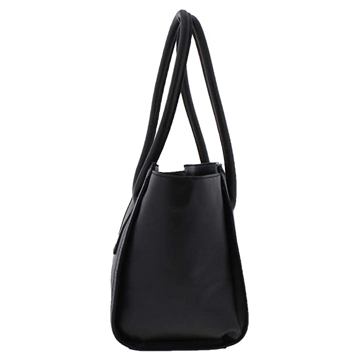 Amazon.com: Jones New York Womens Blake Faux Leather Logo Satchel Handbag Black Large: Shoes