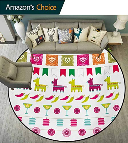 (RUGSMAT Fiesta Warm Soft Cotton Luxury Plush Baby Rugs,Latin American Motifs Flags Chili Peppers Cocktails Mexican Flag Color Party Pattern Kids Teepee Tent Game Play House Round,Diameter-39 Inch)
