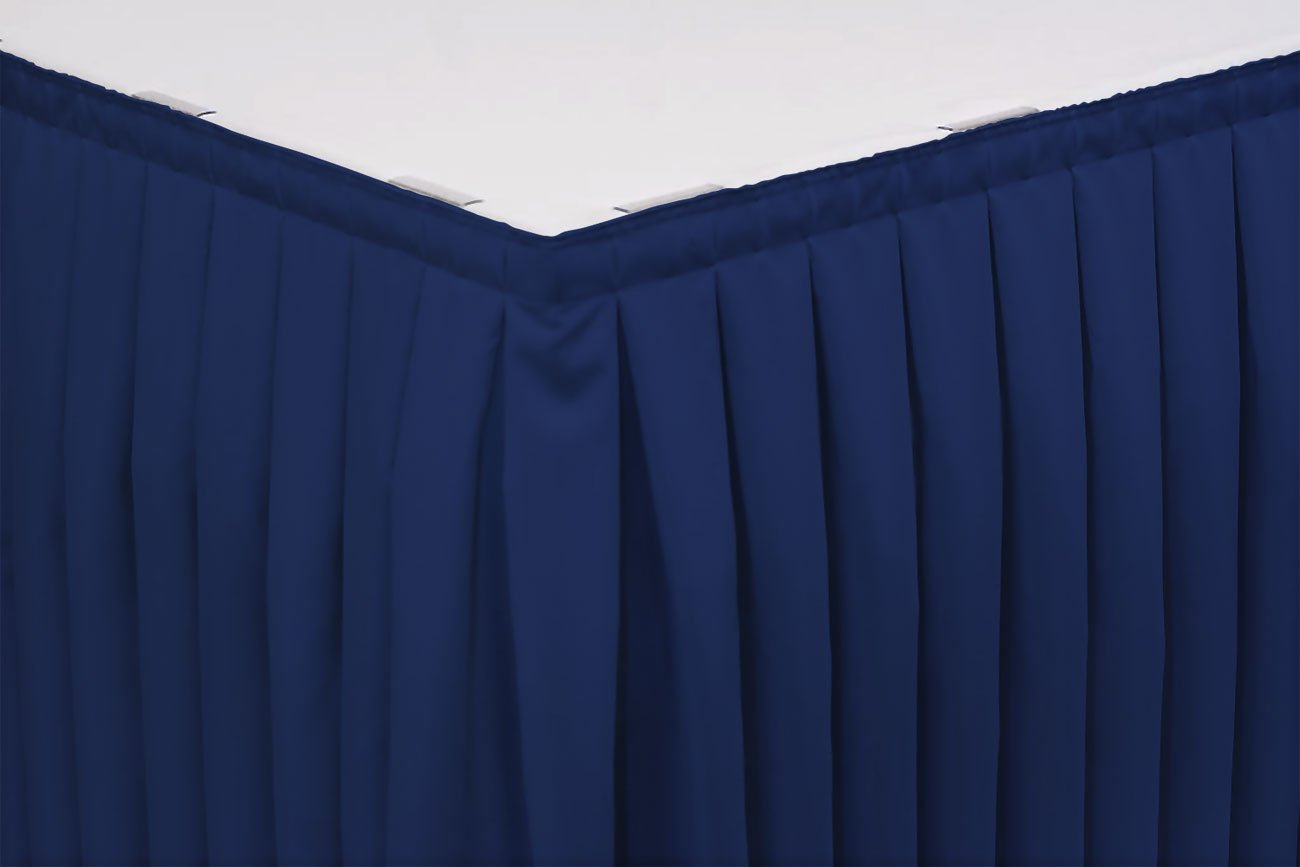 21 Foot Box Pleat Table Skirt w/ 3/4 Inch Velcro clips, Flame Retardant Basic Polyester, 29 Inch High, Royal