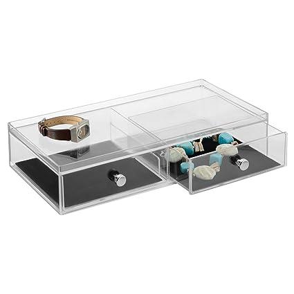 InterDesign Clarity Jewelry Joyero organizador | Caja joyero con 2 cajones para relojes, collares,