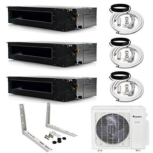 Klimaire 3-Zone (12K+18K+18K) BTU 21 SEER Ducted Recessed Multi-Zone Inverter Air Conditioner Heat Pump with 25 ft. Installation Kits (208-230V)