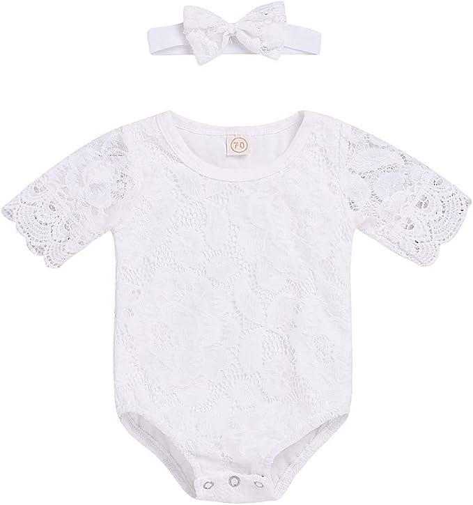 Amazon.com: Bebé recién nacido niña flor blanco encaje ...