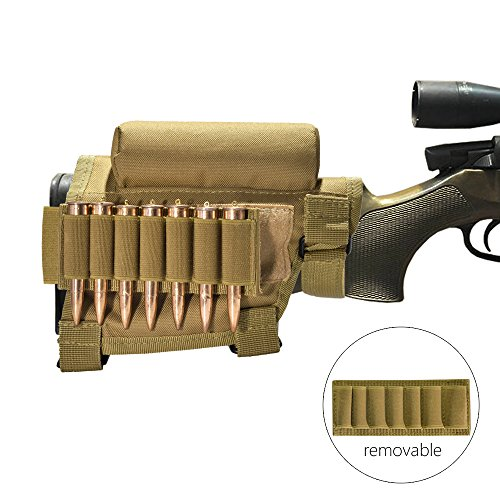 Tactical Buttstock Cheek Rest with Ammo Holder for Hunting Outdoor Sport … (Muddy)