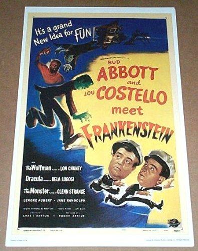 17 by 11 inch Bud Abbott and Lou Costello Meet Frankenstein Comedy Monster Movie Poster Print: Lon Chaney Jr Wolfman/Bela Lugosi Dracula/Glenn Strange