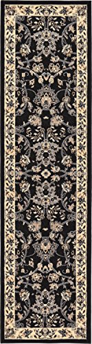 Unique Loom Kashan Collection Traditional Floral Overall Pattern with Border Black Runner Rug (2' 2 x 8' 2)