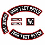 6 in 1Pack Font Custom Embroidered Personalized Punk Rocker Jacket Rider Motorcycle Biker Patches for Back Name Patch Appliqued Iron-on/Sew-on Embroidery Patch (Black Fabric+White Text+Red Border)