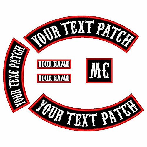 6 Pack Custom Embroidered MC Biker Patches, Personalized Embroidery Rocker Patch Rider Motorcycle Patches Back Name Patch Appliqued/Iron-on/Sew-on Veterans Jacket (Black Fabric+White Text+Red Border) (Red And Black Rocker Patch)