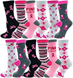 12 Pairs of Womens Breast Cancer Awareness Socks, Pink Ribbon Soft Sport Sock (12 Pairs Assorted (Crew))