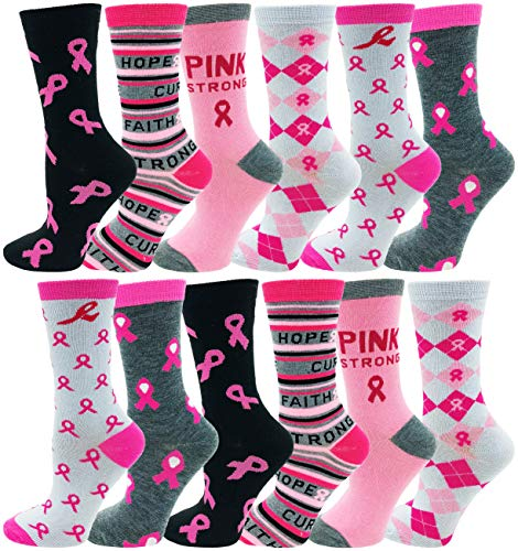 12 Pairs of Womens Breast Cancer Awareness Socks, Pink Ribbon Soft Sport Sock Bulk Pack Gift (12 Pairs Assorted (Crew))
