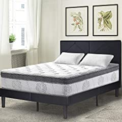 """Olee Sleep 12 """"Euro Box Top mattress is designed to satisfy the need for contoured support of your vertebrae while you sleep. We owe this luxury to the tempered steel independently-encased coils whose particularity is to conform to the curves..."""