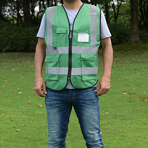 ZOJO High Visibility Safety Vests,Lightweight Mesh Fabric, Wholesale Reflective Vest for Outdoor Works, Cycling, Jogging, Walking,Sports - Fits for Men and Women (Pack of 10, Green) by zojo (Image #5)