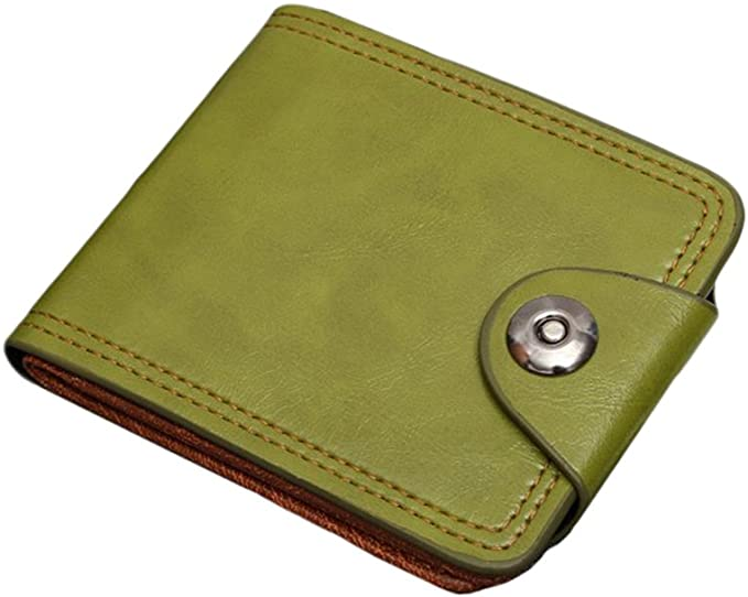 Vegan Faux Leather Bifold Wallet For Womens With Snap Closure RFID Blocking