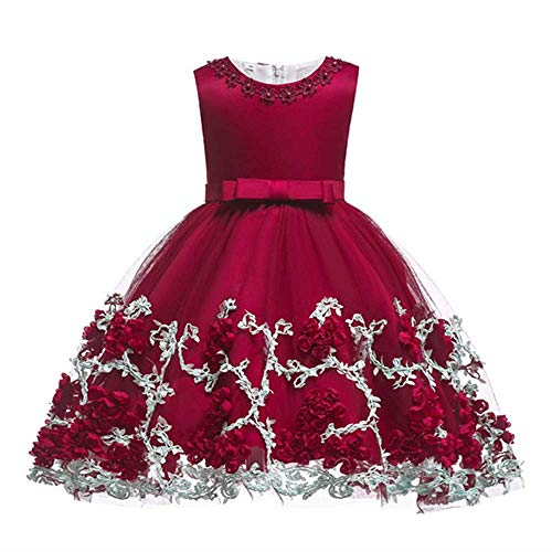 Dhiuow Baby Girls Flower Dress Wedding Party Toddler Dres Birthday Special Occasion Girls Dress Wine 3-6 Months