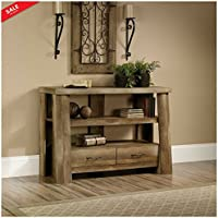 Rustic Entryway Wood Stand With 2 Drawers TV Stand Oak Finish Entry Table Sofa Table Living Room Βedroom House Amazing Style Color Brown & eBook by BADA shop